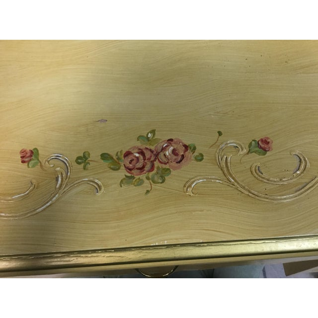 Beautiful feminine vanity desk or ladies writing desk with hand painted etched roses detail. Tiny drawers with brass...