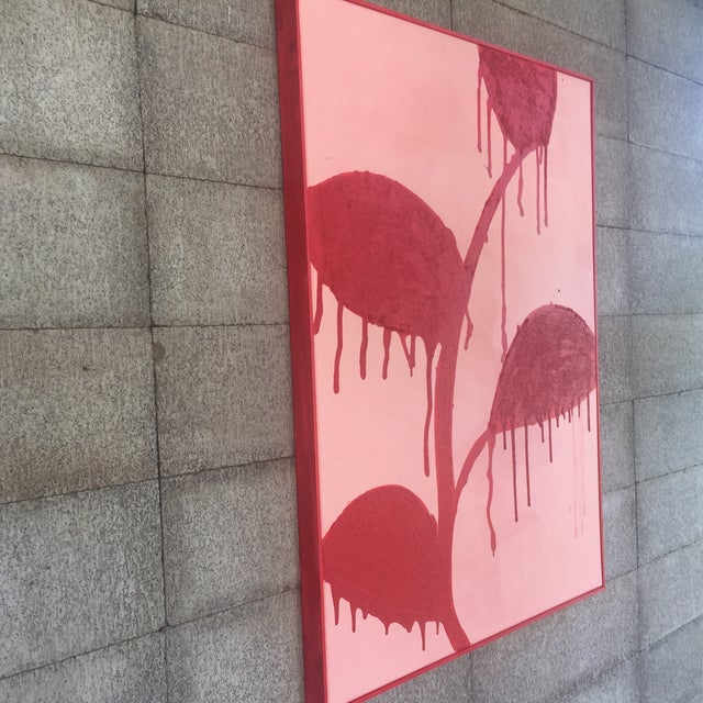 Framed Red Flowers on Pink, Dripping - Acrylic and Sand For Sale - Image 9 of 11