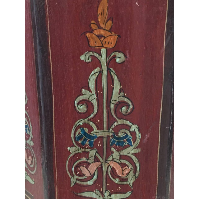 Hand-Painted Moroccan Pedestal Table For Sale - Image 9 of 13