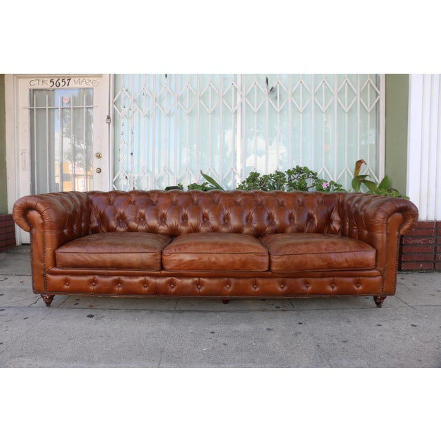 Modern Distressed Leather Tufted Chesterfield Sofa For Sale - Image 13 of 13