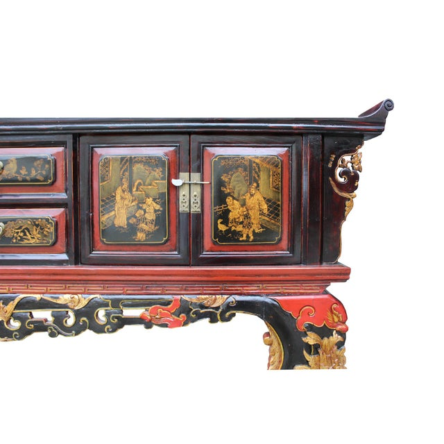 Black Chinese Fujian Golden Graphic Sideboard Console Table Tv Cabinet For Sale - Image 8 of 10
