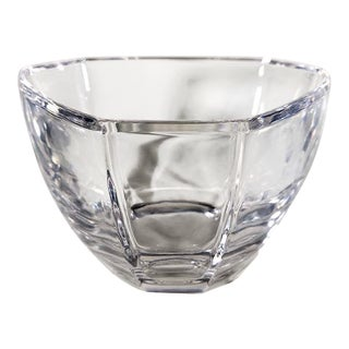20th Century ArtDeco Tiffany & Co. 6 Sided Paneled, Tri-Panel, Lead Crystal Bowl For Sale