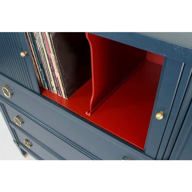 Baker Teal & Red Milling Road Tambour Dresser - Image 5 of 8