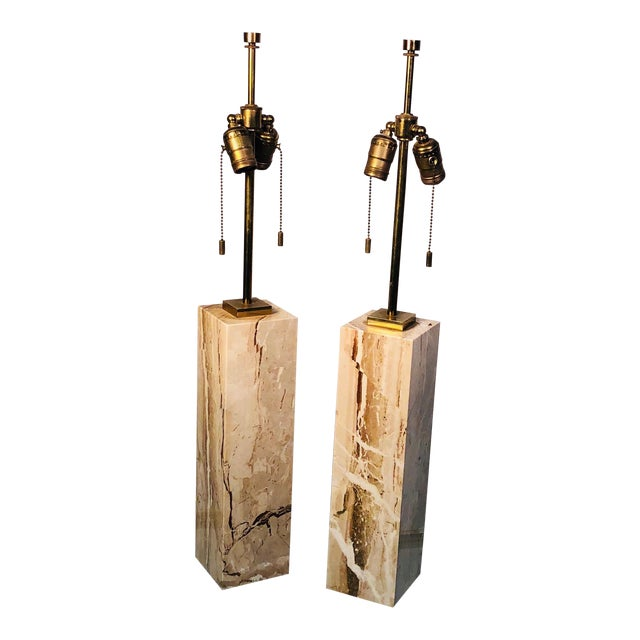Pair of Modern Brass and Marble Lamps For Sale