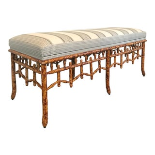 Painted Tortoise Base & Upholstered Top Faux Bamboo Bench