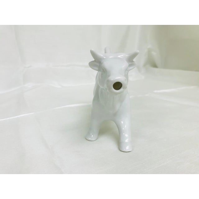 Farmhouse 1970s Vintage White Ceramic Cow Creamer Pitcher For Sale - Image 3 of 8