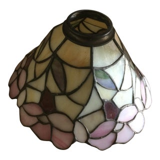 Charming Stained Glass, 3-Globe Chandelier For Sale