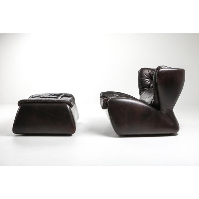Dark Brown 'Pasha' Lounge Chairs by Durlet - 1970's For Sale - Image 11 of 13