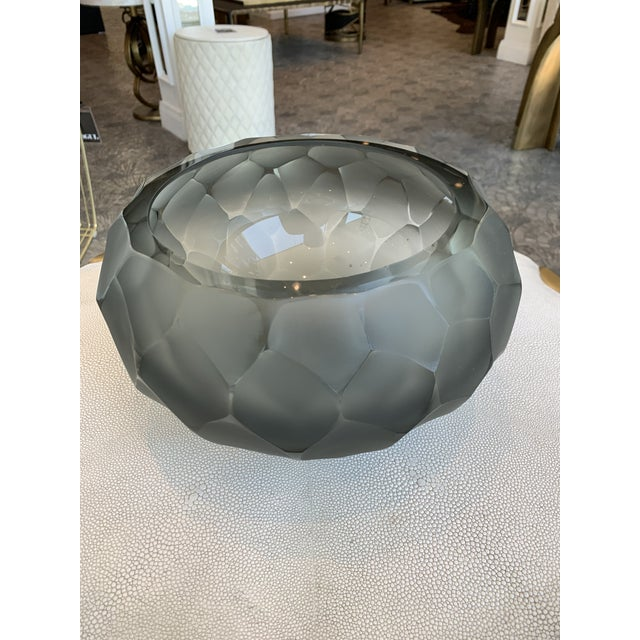 This stunning smoke gray Murano chiseled bowl is complete with artist signature, Alberto Dona. This rare and gorgeous bowl...