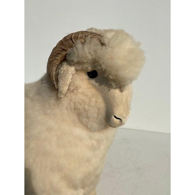 Cream Vintage Sheep Sculpture Footrest/Sculpture For Sale - Image 8 of 11