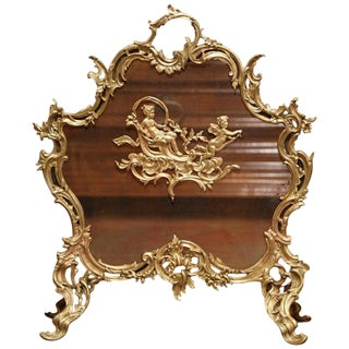 19th Century French Louis XV Carved Bronze Doré Fireplace Screen For Sale