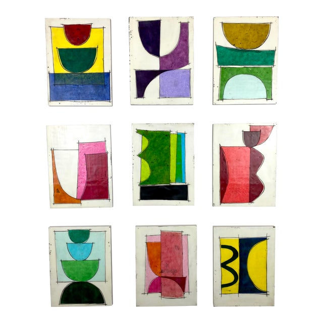 """""""Eat the Cake"""" by Gina Cochran Encaustic Collage Installation - 9 Panels For Sale"""