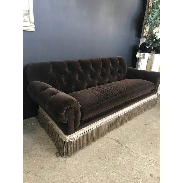A Remarkably Lush Custom Mocha Brown Velvet Chesterfield with Exquisite Silk Fringe detailing by Century Furniture....
