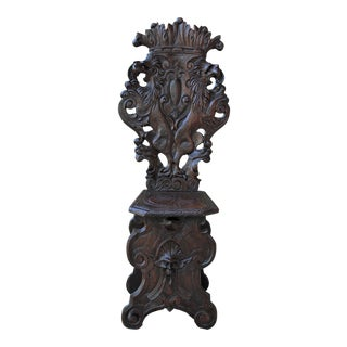 Mid 19th Century Antique Italian Carved Walnut Sgabello Chair For Sale