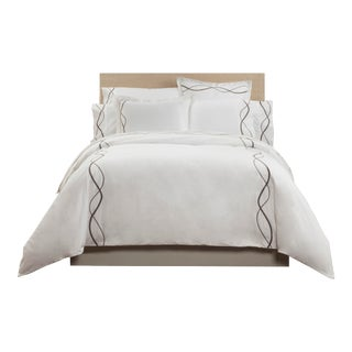 Capri Embroidered Duvet Cover Queen - Graphite For Sale