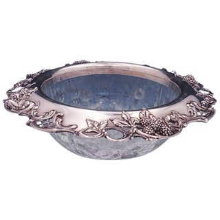 Blackberry by Tiffany & Co. Sterling Silver Fruit Bowl With Cut Glass Leaves For Sale