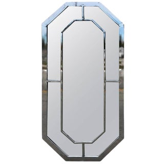 Milo Baughman Chrome Trellis Motif Mirror For Sale