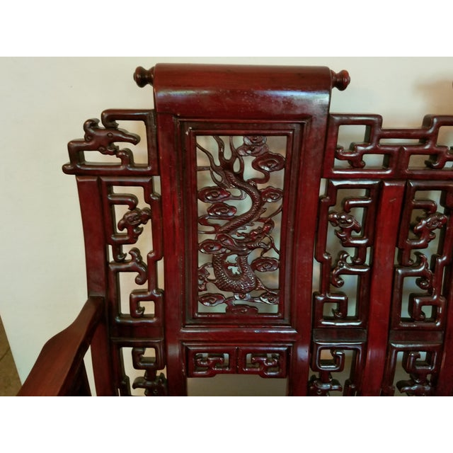 Mid 20th Century Vintage Mid Century Asian Carved Rosewood Settee For Sale - Image 5 of 12