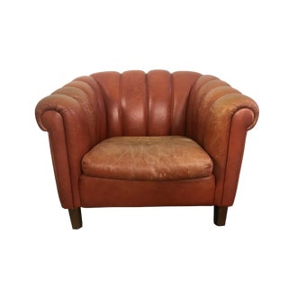 1930s Vintage Swedish Orange Clamshell Club Chair For Sale