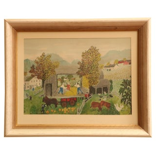 Grandma Moses Pumpkin Harvest Framed Print For Sale