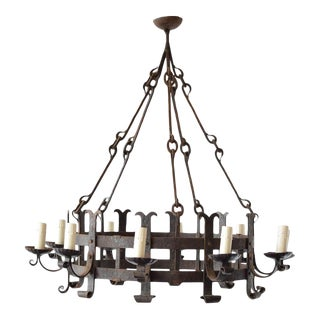 Mid 20th Century Large Rustic Iron Chandelier For Sale