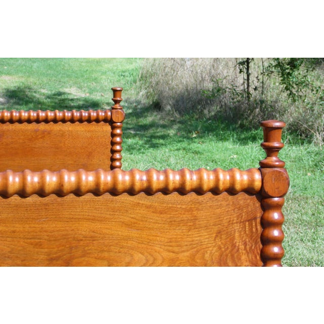 Brown Antique Solid Hardwood Double Full Size Jenny Lind Spool Bed Tulip Finial Daybed For Sale - Image 8 of 13