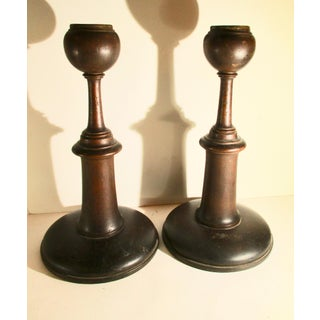 English Arts and Crafts Oak Candlesticks - a Pair Preview
