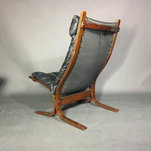 "Black Ingmar Relling ""Siesta"" Lounge Chair + Ottoman, Norway 1960s For Sale - Image 8 of 12"