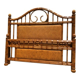 Boho Chic Tommy Bahama Rattan King Sized Bedframe For Sale