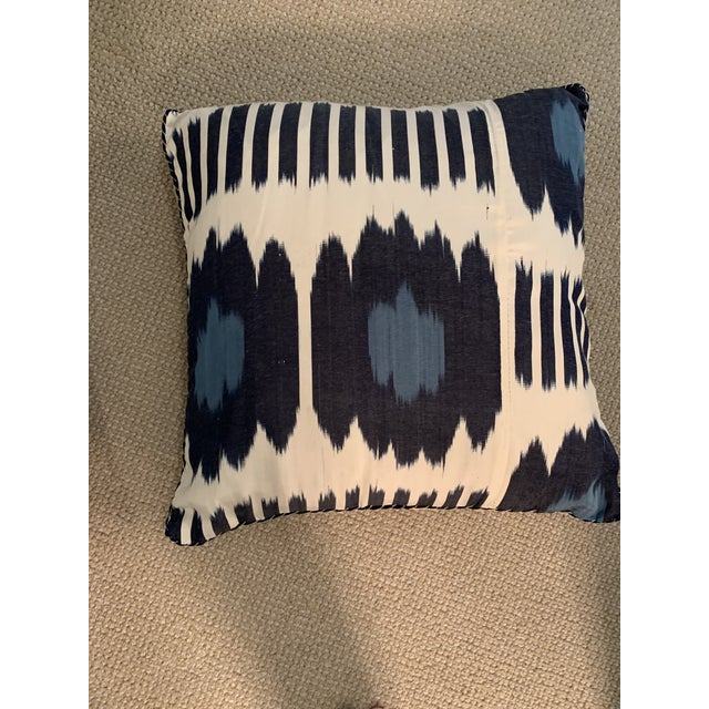 White Contemporary Madeline Weinrib 18x18 Blue Collins Pillows - a Pair For Sale - Image 8 of 12