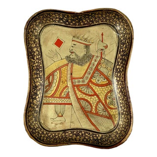 Mid-19th C. English Chinoiserie Lacquer Papier-Mâché King Card Counter Tray For Sale