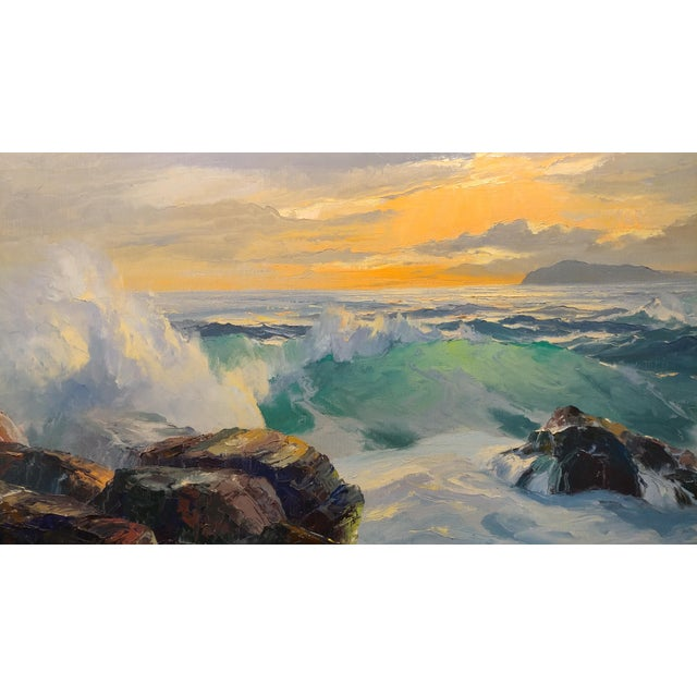 Bennett Bradbury California Seascape Oil Painting on Canvas For Sale - Image 4 of 10