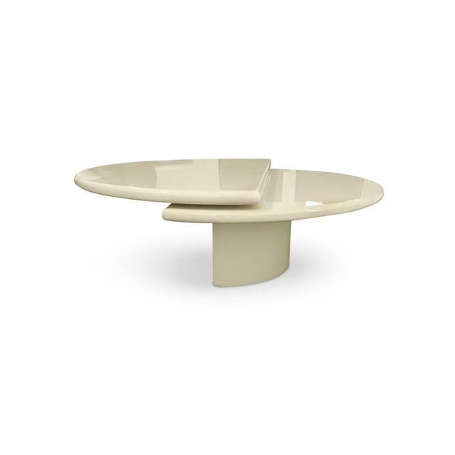 Fiberglass 1980s Memphis Revolving Circular Semi-Circular Coffee Table For Sale - Image 7 of 13