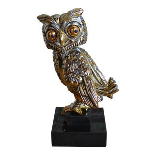 Frank Meisler Silver and Gold Plated Owl Sculpture For Sale