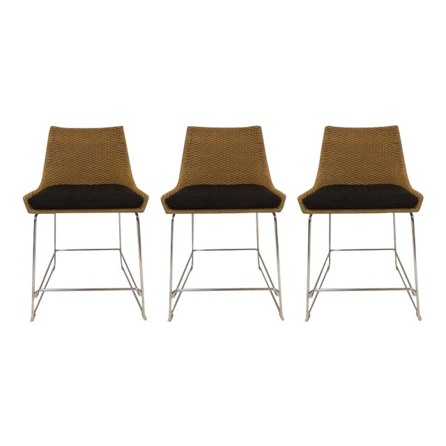 Set of Three McGuire Rope Stools For Sale