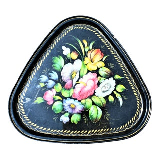 Vintage Black and Floral Russian Painted Rounded Triangle Tray For Sale