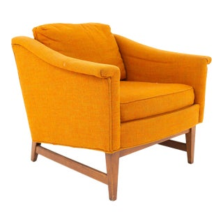 Selig Signature Mid Century Walnut Orange Upholstered Lounge Chair For Sale
