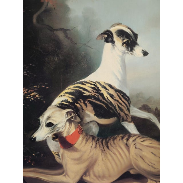 Rococo Mid 20th Century Portrait of Two Elegant Dogs Oil Painting, Framed For Sale - Image 3 of 11