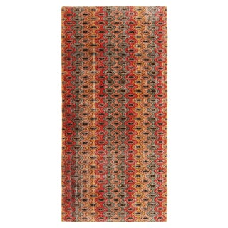 Vintage Mid-Century Geometric Multicolor Wool Rug - 3′10″ × 6′7″ For Sale
