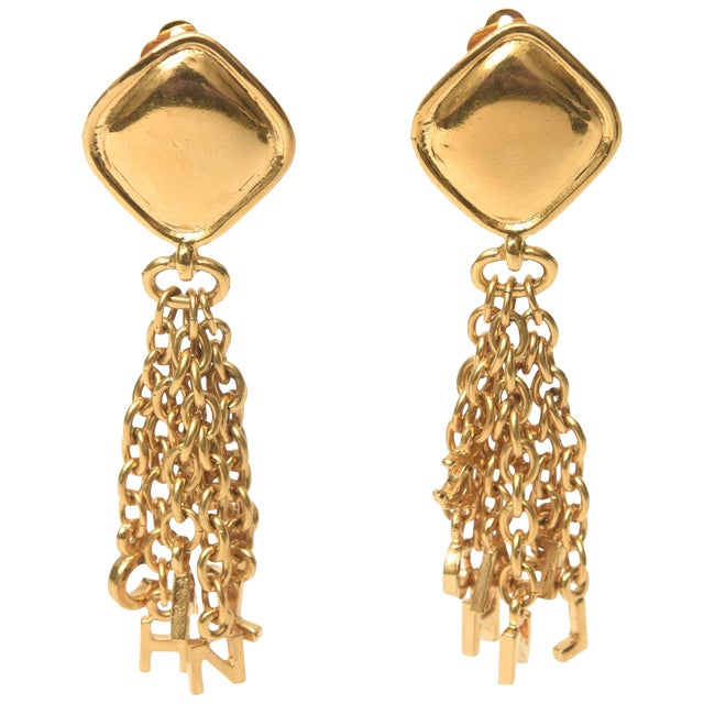 Vintage Chanel Pair of Gold Plated Charm Dangle Clip on Earrings For Sale