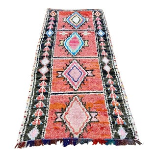 1980s Moroccan Boucherouite Rug - 4′11″ × 7′10″ For Sale