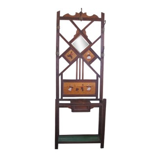 1920s Art Deco Style Wooden Hall Tree For Sale
