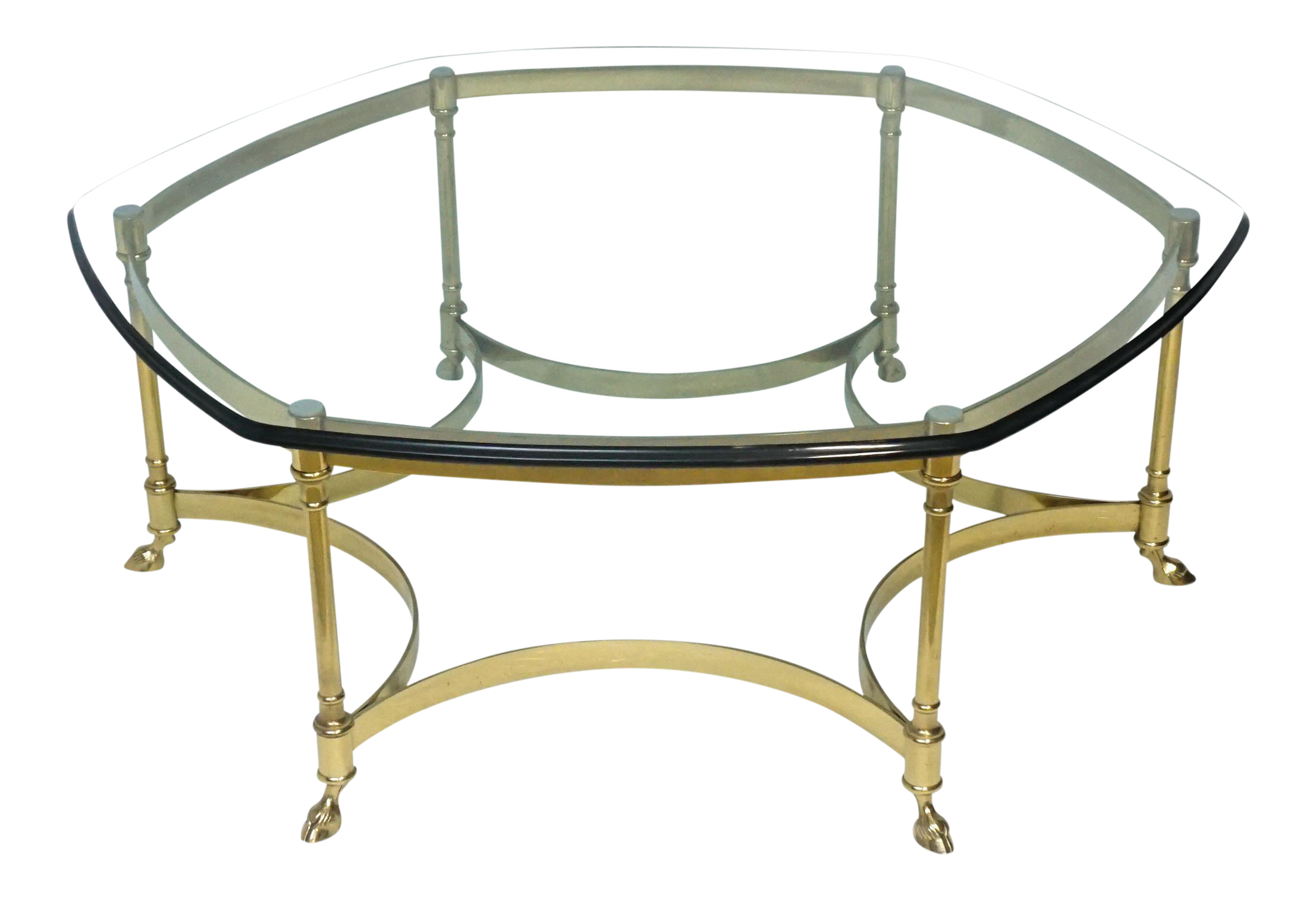Labarge Brass And Glass Octagon Coffee Table Hoof Foot For Sale
