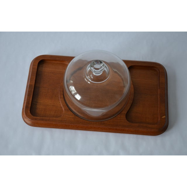 Brown Mid-Century Danish Modern Glass Domed Teak Cheese Serving Board For Sale - Image 8 of 9
