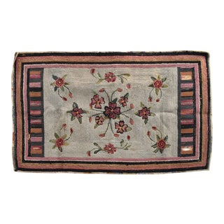 Antique 19th-Century American Folk Hook Rug For Sale