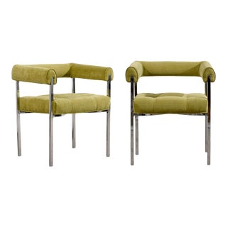 Beautiful Milo Baughman Style Chrome Armchairs in Lime Chenille For Sale