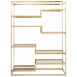 Golden Étagère by Belgochrom with Smoked Glass Shelving