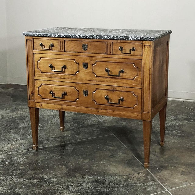 19th Century French Louis XVI ~ Directoire Style Marble Top Commode boasts the tailored lines and rectilinear architecture...