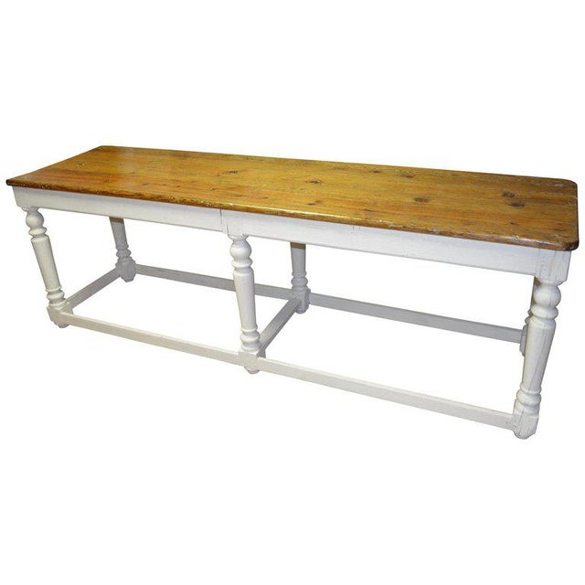 Kitchen Island Restaurant Prep From Rectory Table 100 Years Old. Ships Free. For Sale - Image 11 of 11
