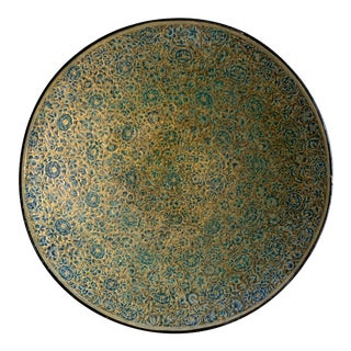 Paper Mache Kashmiri Charger in Green and Gold For Sale